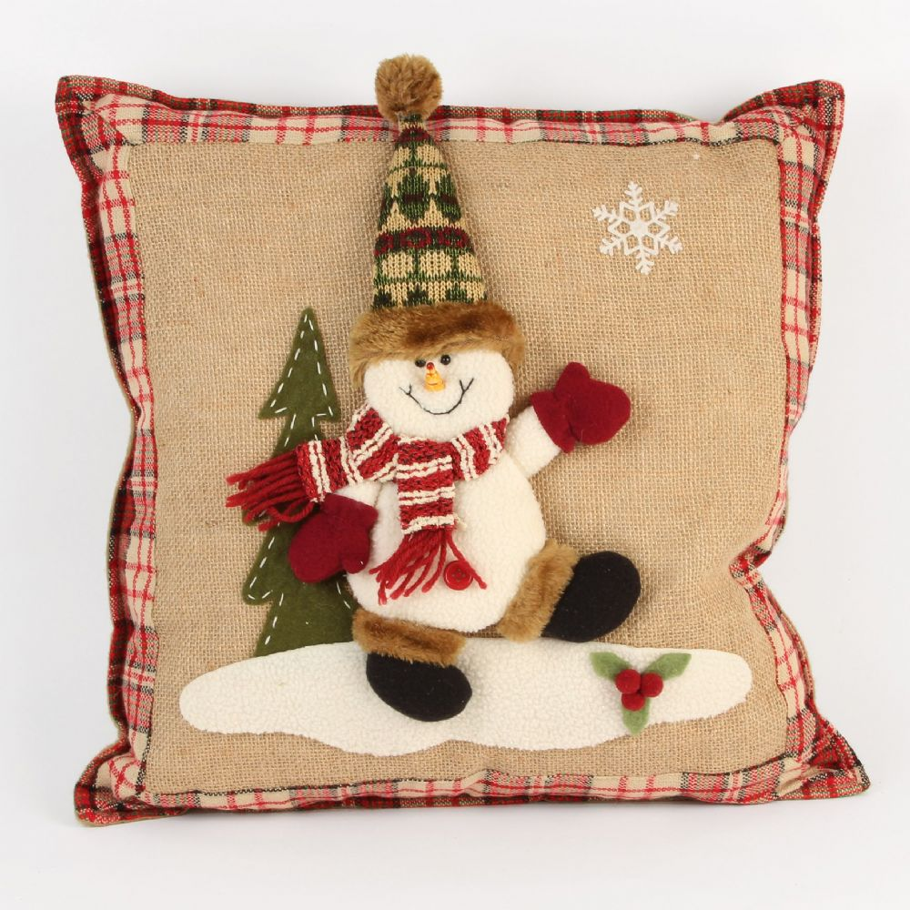 Christmas Snowman Cushion Jute Tartan Burlap Craft Cushion for Christmas